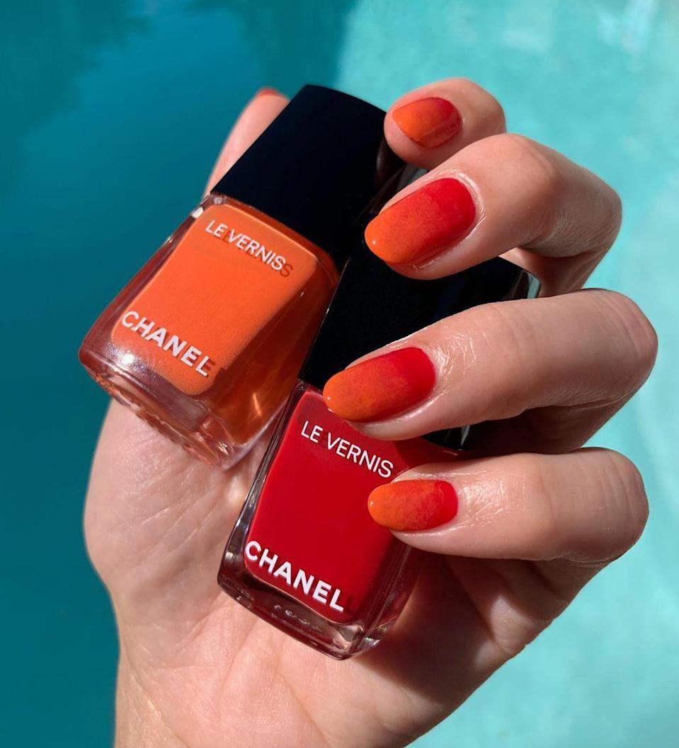 "Red and orange transition perfectly from summer to fall, especially when done in a pretty ombré. Use Chanel Le Vernis in <a href=""https://shop-links.co/1717073673597158762"" rel=""nofollow noopener"" target=""_blank"" data-ylk=""slk:Sailor"" class=""link rapid-noclick-resp"">Sailor</a> and <a href=""https://shop-links.co/1717073686594335970"" rel=""nofollow noopener"" target=""_blank"" data-ylk=""slk:Cruise"" class=""link rapid-noclick-resp"">Cruise</a> and a latex makeup sponge for the same effect as above."