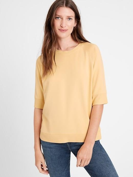 <p>Rotate in this lightweight <span>Banana Republic Baby Terry Short-Sleeve Sweatshirt</span> ($44-$50, originally $50) for your favorite long-sleeved one. </p>