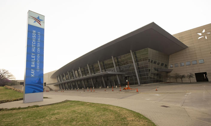 The Kay Bailey Hutchison Convention Center stands on March 16, 2021 in Dallas, Texas. The U.S. government plans to transfer up to 3,000 immigrant teenagers to the center.  (Ron Jenkins/Getty Images)