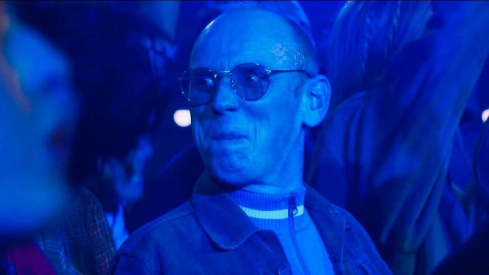 Creation Records boss Alan McGee, played by Ewan Bremner, raving in a film scene from Creation Stories