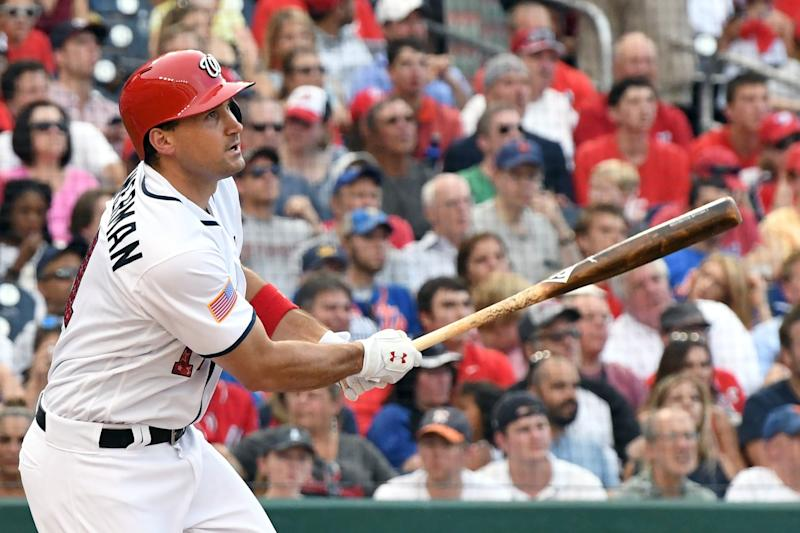 Ryan Zimmerman #11 of the Washington Nationals takes a swing during a baseball game against the New York Mets at Nationals Park on July 3, 2017 in Washington, DC. The Nationals won 3-2.