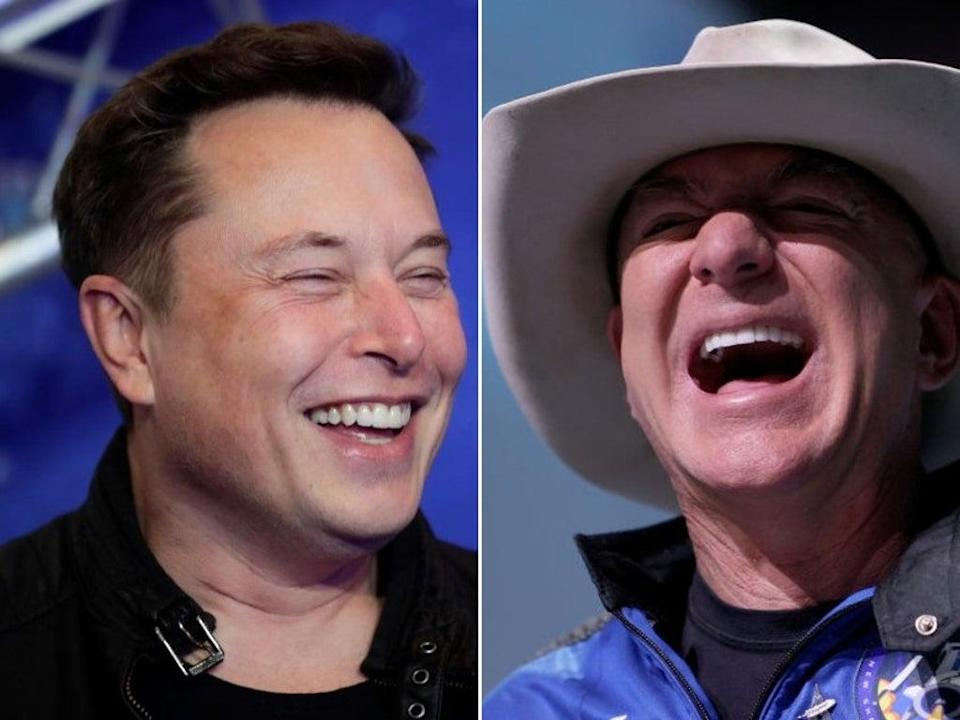 Elon Musk and Jeff Bezos are the two wealthiest people on the planet - and both are competing to get off it (Getty Images/ composite)