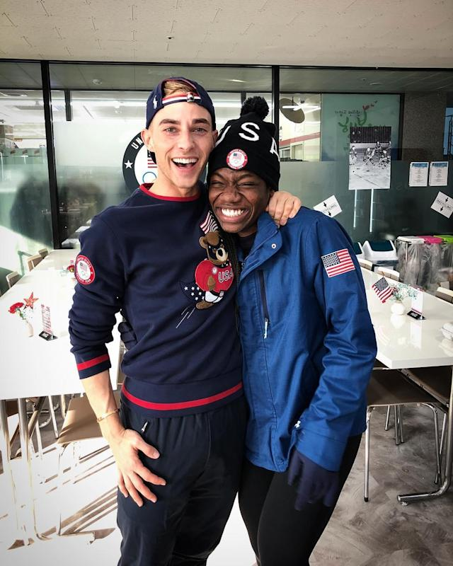 <p>Maame Biney and Rippon are both making history at the Olympics as the first African American on the speed-skating team and the first openly gay American athlete to qualify for the Olympics. </p>