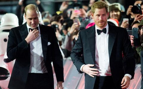 The Duke of Cambridge and Prince Harry pictured at the Star Wars premiere last week - Credit: Samir Hussein