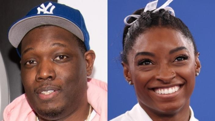 """Michael Che (left) has wiped his Instagram page clean after jokes about star gymnast Simone Biles (right) on Instagram led to the """"Saturday Night Live"""" writer's claims of being hacked. (Photos by Dave Kotinsky/Getty Images for Mercedes-Benz and Laurence Griffiths/Getty Images)"""