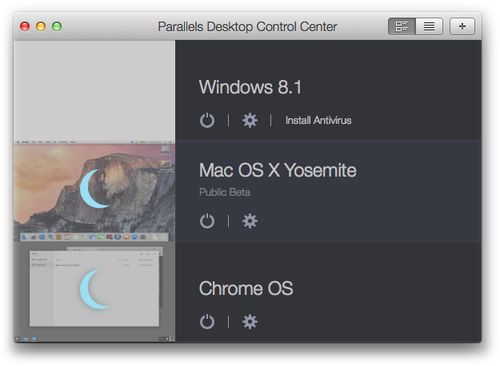 Parallels Desktop Control Center