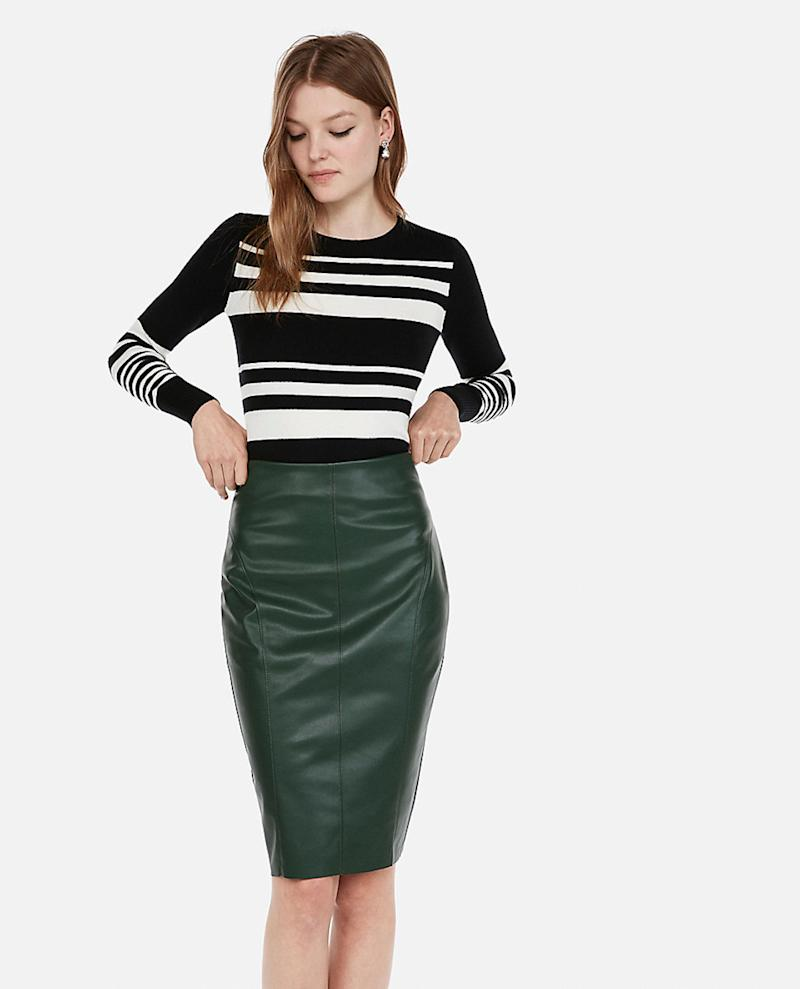 Express High Waisted Seamed Leather Pencil Skirt (Photo: Express)
