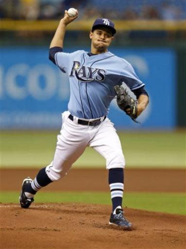 Tampa Bay Rays starting pitcher Chris Archer throws during the first inning of a baseball game against the Houston Astros, Sunday, July 14, 2013, in St. Petersburg, Fla. (AP Photo/Mike Carlson)