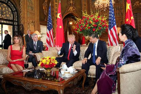 U.S. President Donald Trump and First Lady Melania Trump welcome Chinese President Xi Jinping and first lady Peng Liyuan at Mar-a-Lago estate in Palm Beach, Florida