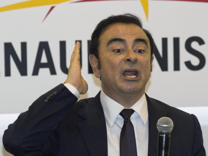 <p> FILE - In this April 25, 2016, file photo, then Renault-Nissan's CEO Carlos Ghosn speaks during a press conference held at Auto China 2016 in Beijing, China. A court in Tokyo on Tuesday, Jan. 22, 2019 rejected former Nissan chairman Carlos Ghosn's latest request for bail, made more than two months after his arrest, prolonging a detention that has brought Japan's harsh justice system under international scrutiny. (AP Photo/Ng Han Guan, File) </p>