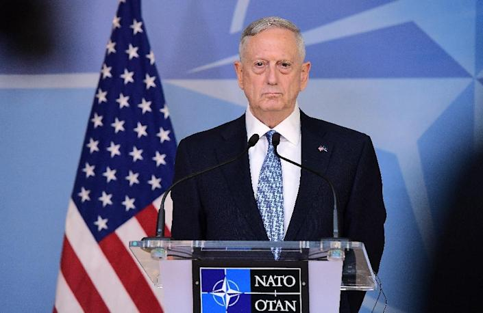 US Defence Minister James Mattis reaffirmed Washington's commitment to NATO during a meeting in Brussels, on February 15, 2017 (AFP Photo/EMMANUEL DUNAND)
