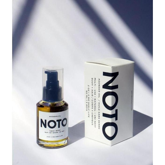 <p>Noto Botanics, founded by Gloria Noto, is a gender-fluid beauty brand that gives back year-round with its <span>Agender Oil</span> ($56). Sales from the hair and body oil have generated over $25K for organizations like Planned Parenthood, LGBT Youth Center, The Okra Project, The Herbal Mutual Aid Network (HMAN), Woman's Center DTLA, Black Lives Matter, and more.</p>