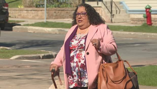 Complainant Stephanie Douglas arrives at the P.E.I. Supreme Court Tuesday to testify at the trial of the man she accuses of sexually assaulting her in January 2014. (Brian Higgins/CBC - image credit)