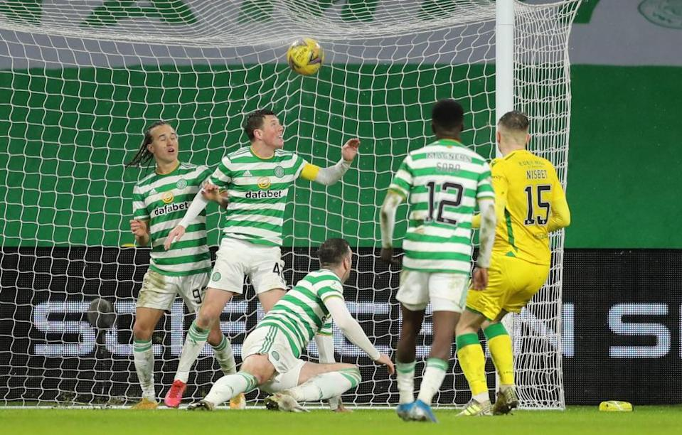 Hibs getting a last-minute equaliser in the 1-1 draw at the Queen's Celtic on Monday.
