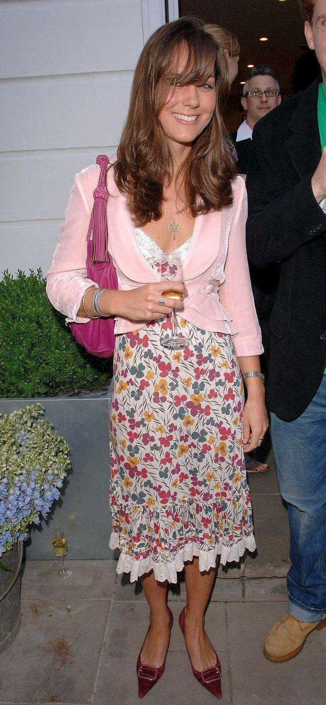 "<p>Kate attended the grand opening party of The Shop at Bluebird, where a Jigsaw store was opening up. She worked for the chain from 2006-2007, and is now a known <a href=""https://www.townandcountrymag.com/style/fashion-trends/news/g1633/kate-middleton-fashion/"" rel=""nofollow noopener"" target=""_blank"" data-ylk=""slk:style icon"" class=""link rapid-noclick-resp"">style icon</a>. </p>"