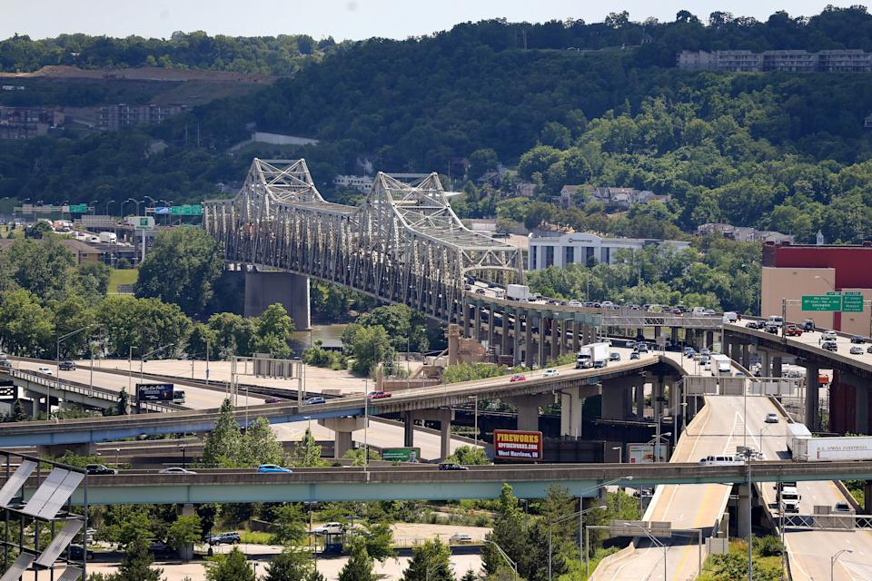 View of the Brent Spence Bridge, carrying Interstate 75 traffic from Ohio into Kentucky, Friday, June 19, 2020, in Cincinnati.