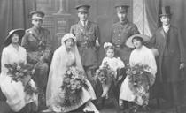 "<p>Overseas in Britain, where many of the country's young men had been sent off to war, young couples began forming romances through letter writing. Many of these couples became engaged without ever having met face to face, a phenomenon that resulted in a large number of ""<a href=""http://www.telegraph.co.uk/history/world-war-one/10406047/WW1-romances-and-the-hasty-weddings-scare.html"" rel=""nofollow noopener"" target=""_blank"" data-ylk=""slk:hasty war weddings"" class=""link rapid-noclick-resp"">hasty war weddings</a>."" </p>"