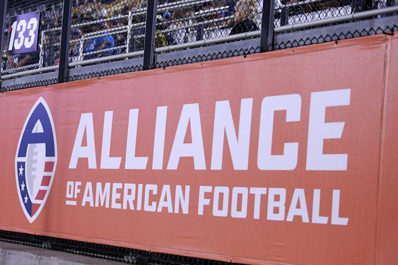 ORLANDO, FLORIDA - FEBRUARY 23: A general view of signage reading 'Alliance of American Football' is seen as the Orlando Apollos take on the Memphis Express during an Alliance of American Football game on February 23, 2019 in Orlando, Florida. The Orlando Apollos won 21-17. (Photo by Harry Aaron/AAF/Getty Images)