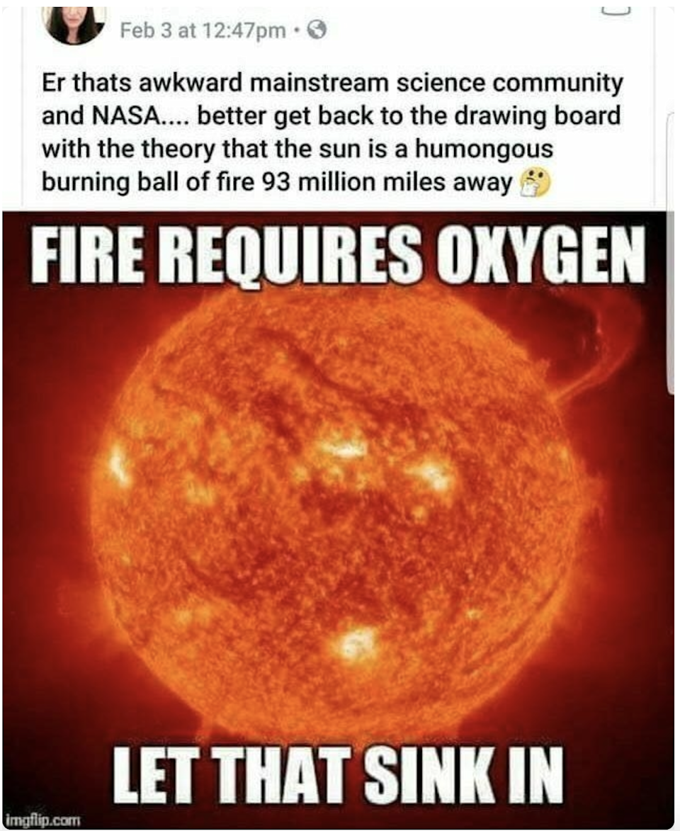 picture of the sun burning and the person is like how can it burn in space without oxygen