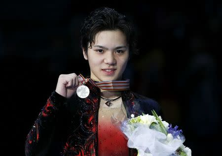 Figure Skating - ISU World Championships 2017 - Men's Victory Ceremony - Helsinki, Finland - 1/4/17 - Silver medallist Shoma Uno of Japan attends the ceremony. REUTERS/Grigory Dukor