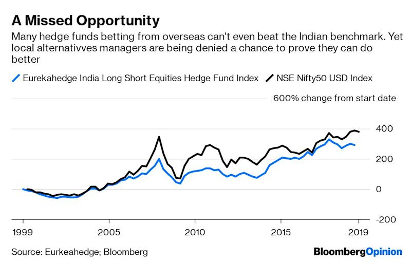 "(Bloomberg Opinion) -- India is killing off the one industry that can bring badly behaving tycoons into line while nudging savers away from an unproductive lust for gold. That industry is domestic hedge funds, which have taken seven years to reach $6 billion in investment commitments from nothing. By contrast, equity investment in India by overseas financial investors is upward of $400 billion.Even that measly $6 billion figure for so-called Category 3 Alternative Investment Funds overstates the industry's development. Some managers of vanilla mutual funds now seek the AiF registration to avoid regulatory restrictions on what they can pay distributors for selling to mom-and-pop investors. Alternatives that are meant for the rich don't have such restraints. But leave aside the pretenders. Rather than encourage a community of investment vigilantes who target firms falsifying accounts or stealing from investors, the Indian taxman is threatening to disband it.The increase to 42.7% from 35.9% in the tax rate on annual earnings over 50 million rupees ($730,000), announced in the first annual budget after Prime Minister Narendra Modi's reelection, has a more vocal victim: overseas funds investing in India. These are seeing red. Often structured as trusts or associations, they too will have to pay the higher levy that applies on all non-corporate income. The head of the tax authority in New Delhi has told them they're ""collateral damage."" Offshore investors can always find other markets. What will onshore hedge fund managers do, except leave the country perhaps? Singapore doesn't tax capital gains; in India profits on cash equities bought and sold within a year will be charged at 21%, up from 18%. It gets even more draconian. Alternative funds now have to withhold 42.7% of all income on derivatives trading before they pass on the returns to investors. This is bread and butter business for long-short hedge funds, which frequently use derivatives to mount leveraged bets. Worse, the ultimate investors won't be able to set off that tax against any other business losses.The Securities and Exchange Board of India, or SEBI, has always been suspicious of the source of capital for hedge funds investing in India from Singapore or Hong Kong. It believes dirty money – proceeds of crime, corruption or tax evasion – comes back home from offshore financial centers after being laundered. Whatever the rational basis of those fears, the regulator's efforts to set up from scratch a domestic industry in alternative assets is being torpedoed by the taxman. ""They may be unwittingly about to kill off the onshore hedge fund industry that SEBI created, even before it has begun to crawl,"" Vijay Krishna-Kumar, head of IDFC Asset Management's liquid alternatives investment, told me.That would be a shame. Stamping out short sellers will tilt an already-skewed playing field even more toward long-only investors. Those who profit only when share prices rise will happily overlook corporate skulduggery, especially if the tycoons riding roughshod over minority shareholders make the fund managers feel important by giving them access. At this rate, India's abysmal governance standards will never improve.At $6 trillion, India's household wealth is a fraction of China's $52 trillion. Even so, the country had 343,000 dollar millionaires this time last year, according to Credit Suisse Group AG. For them, it's important to have access to assets uncorrelated with stock market returns that they can replicate with index funds. If hedge funds die because of taxation, the rich in India will be left with two sub-optimal options. ""Offshore tax centers can breathe easy now,"" says Krishna-Kumar. ""India will remain an underdeveloped market where only gold and property would be your alternatives.""So much of India's private wealth is trapped in gold that any more will be a colossal social waste. For a country that aims to elevate GDP to $5 trillion by the end of Modi's second term in 2024, from $2.8 trillion now, India needs risk capital to go into productive assets. Yet policy makers are jacking up tax rates on the one avenue for risk-taking they should be nourishing. The money they collect will be chump change compared with the cost of the hedge fund industry's arrested development. Cronyism thrives on finance – and only finance can stop it. Without an industry that has their back, which analyst will pore over obscure company filings; meet suppliers, customers, and regulators; and use LinkedIn and Google Maps to verify whether employees and facilities exist? In India, taking on important people means risking one's livelihood – and even liberty. If nothing else, the domestic alternatives business is worth saving because it can speak truth to power and put its money where its mouth is. To contact the author of this story: Andy Mukherjee at amukherjee@bloomberg.netTo contact the editor responsible for this story: Matthew Brooker at mbrooker1@bloomberg.netThis column does not necessarily reflect the opinion of the editorial board or Bloomberg LP and its owners.Andy Mukherjee is a Bloomberg Opinion columnist covering industrial companies and financial services. He previously was a columnist for Reuters Breakingviews. He has also worked for the Straits Times, ET NOW and Bloomberg News.For more articles like this, please visit us at bloomberg.com/opinion©2019 Bloomberg L.P."