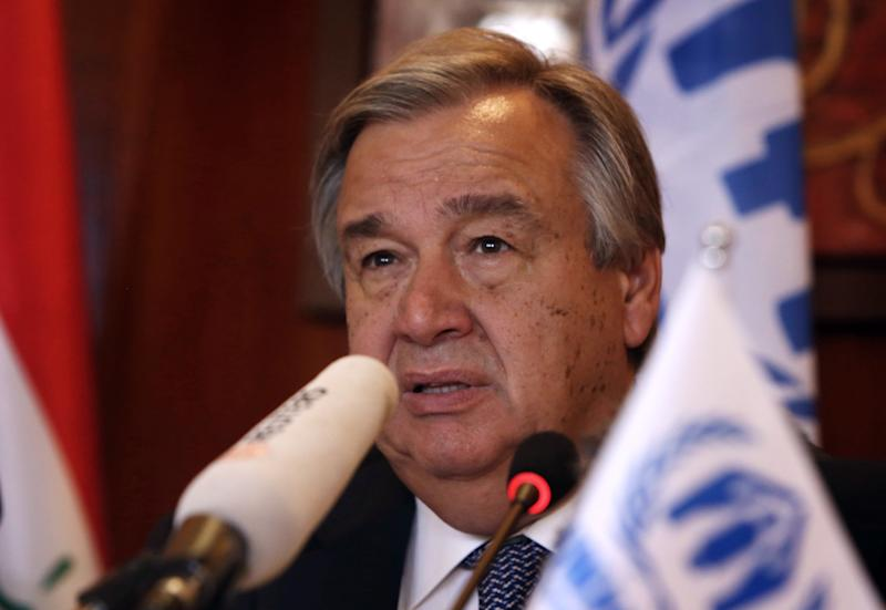 File picture shows UN High Commissioner for Refugees (UNHCR) Antonio Guterres speaking during press conference in Arbil, the capital of the autonomous Kurdish region of northern Iraq, on July 17, 2014