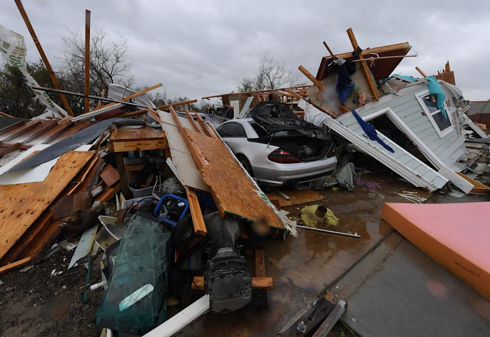 Destroyed houses in Rockport.