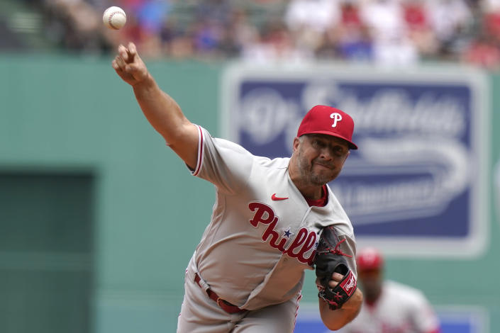 Philadelphia Phillies' Brandon Kintzler delivers a pitch against the Boston Red Sox in the first inning of a baseball game, Sunday, July 11, 2021, in Boston. (AP Photo/Steven Senne)