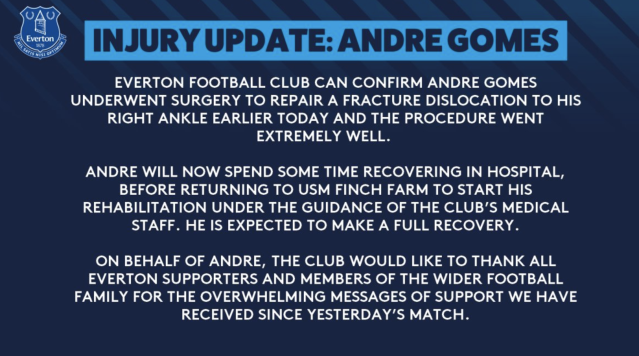 The club provided suporters with an injury update.