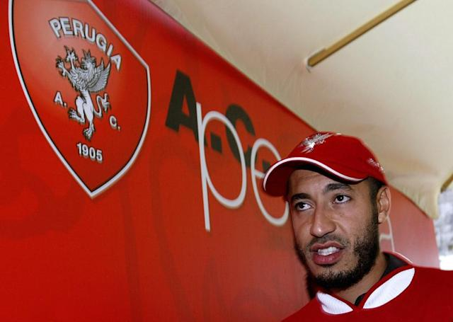 "<span class=""element-image__caption"">Al-Saadi Gaddafi is presented as a Perugia player in June 2003.</span> <span class=""element-image__credit"">Photograph: Giampiero Sposito/Reuters</span>"