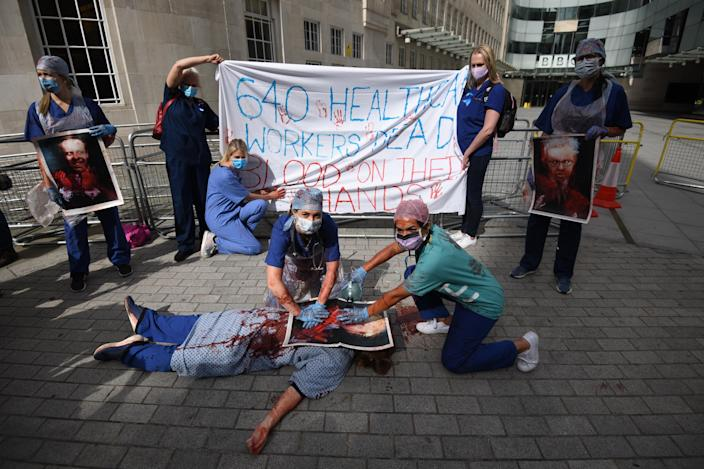 NHS workers attend the 'March for Pay' Demonstration outside the BBC Broadcasting House in London (Picture: Getty)