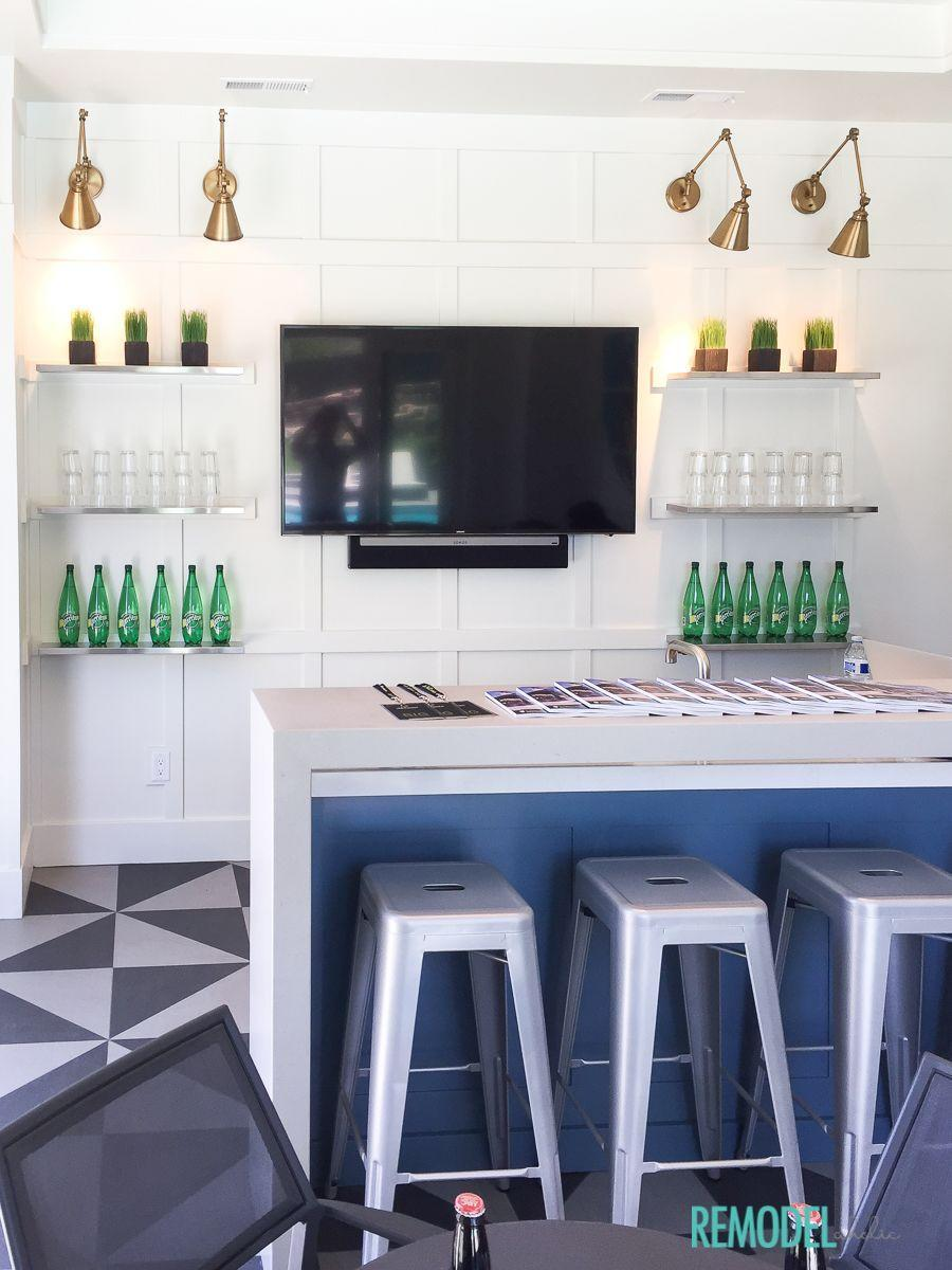 """<p>This playful, coastal-inspired kitchenette is full of interesting design details like a board and batten grid wall, which offers a very affordable way to add a high-end look. The secret is using MDF boards from your local lumber store! </p><p><strong>See more at <a href=""""https://www.remodelaholic.com/get-look-coastal-inspired-basement-kitchenette/"""" rel=""""nofollow noopener"""" target=""""_blank"""" data-ylk=""""slk:Remodelaholic"""" class=""""link rapid-noclick-resp"""">Remodelaholic</a>. </strong></p><p><a class=""""link rapid-noclick-resp"""" href=""""https://go.redirectingat.com?id=74968X1596630&url=https%3A%2F%2Fwww.walmart.com%2Fip%2FSmileMart-Metal-24-Stackable-Metal-Bar-Stools-Set-of-4-Gun-Metal%2F217862724&sref=https%3A%2F%2Fwww.redbookmag.com%2Fhome%2Fg36061437%2Fbasement-ideas%2F"""" rel=""""nofollow noopener"""" target=""""_blank"""" data-ylk=""""slk:SHOP METAL BAR STOOLS"""">SHOP METAL BAR STOOLS</a></p>"""