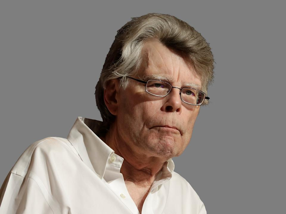 Stephen King headshot, writer, graphic element on gray