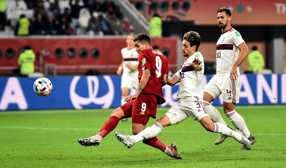 DOHA, QATAR - DECEMBER 21: (THE SUN OUT, THE SUN ON SUNDAY OUT) Roberto Firmino of Liverpool comes close to scoring the opening goal during the FIFA Club World Cup final match between Liverpool FC and CR Flamengo at Khalifa International Stadium on December 21, 2019 in Doha, Qatar. (Photo by Andrew Powell/Liverpool FC via Getty Images)