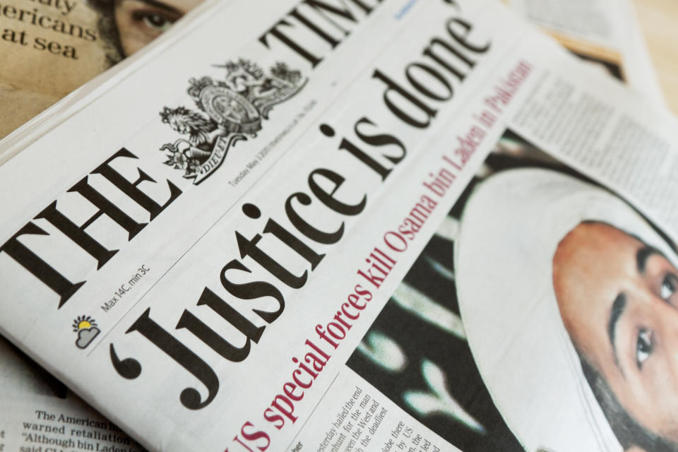 Denny, Scotland - May 3, 2011: The Times newspaper reports on Osama bin Laden's death on May 3rd 2011.