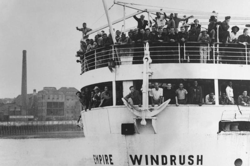 22nd June 1948: The ex-troopship 'Empire Windrush' arriving at Tilbury Docks from Jamaica, with 482 Jamaicans on board, emigrating to Britain: Getty Images