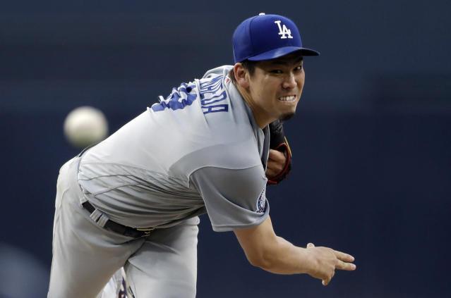 Los Angeles Dodgers starting pitcher Kenta Maeda, of Japan, works against a San Diego Padres batter during the first inning of a baseball game Wednesday, July 11, 2018, in San Diego. (AP Photo/Gregory Bull)