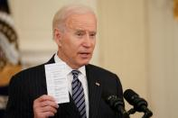 FILE PHOTO: U.S. President Joe Biden delivers remarks on the state of the coronavirus disease (COVID-19) vaccinations