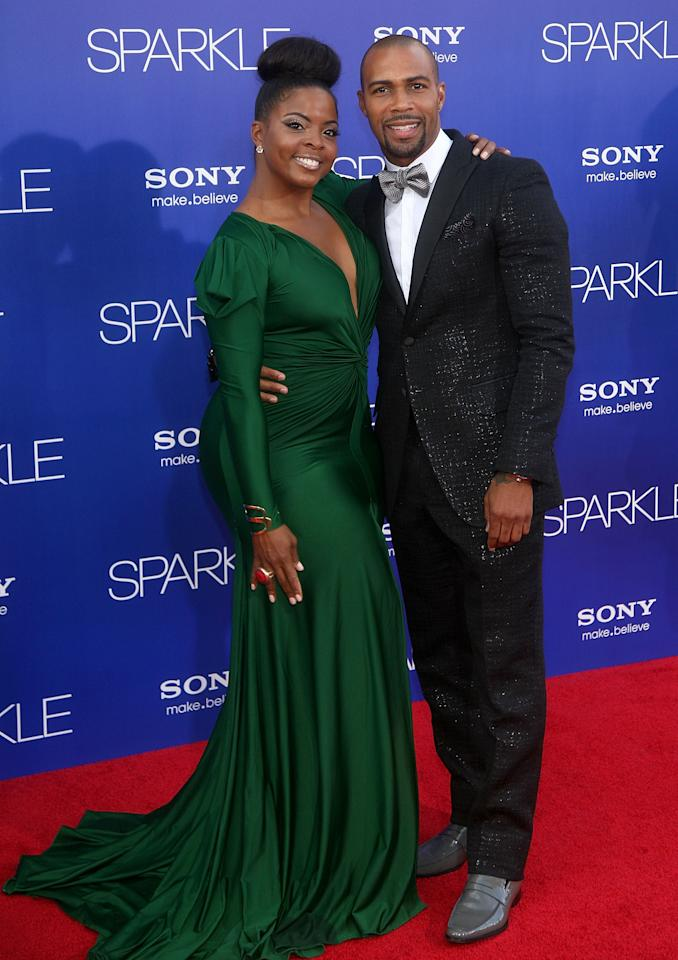 "HOLLYWOOD, CA - AUGUST 16:  Actors Bre'ly Evans and Omari Hardwick arrive at the Los Angeles Premiere of ""Sparkle"" at Grauman's Chinese Theatre on August 16, 2012 in Hollywood, California.  (Photo by Maury Phillips/Getty Images For A+E Networks)"