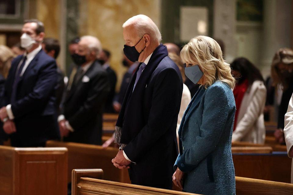 <p>The Bidens attend services at the Cathedral of St. Matthew the Apostle with Congressional leaders ahead of the inauguration ceremony. </p>