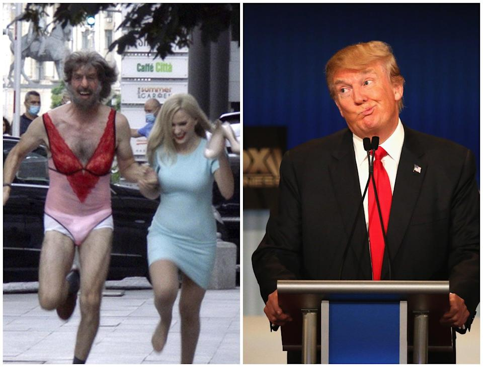 Left: Sacha Baron Cohen and Maria Bakalova  in a scene from Borat 2. Trump has called Baron Cohen a 'creep' (Amazon Studios/Getty)