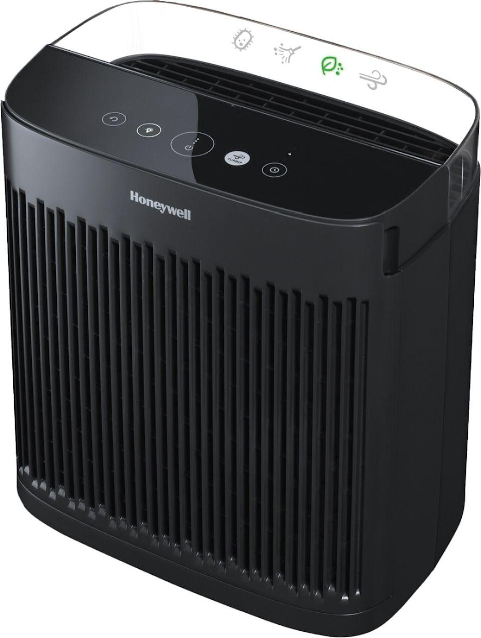 """<p><strong>Honeywell</strong></p><p>bestbuy.com</p><p><strong>$159.99</strong></p><p><a href=""""https://go.redirectingat.com?id=74968X1596630&url=https%3A%2F%2Fwww.bestbuy.com%2Fsite%2Fhoneywell-insighttm-hpa5100b-175-sq-ft-hepa-air-purifier-black-black%2F6412406.p%3FskuId%3D6412406&sref=https%3A%2F%2Fwww.veranda.com%2Fshopping%2Fhome-accessories%2Fg35025412%2Fair-purifiers%2F"""" rel=""""nofollow noopener"""" target=""""_blank"""" data-ylk=""""slk:Shop Now"""" class=""""link rapid-noclick-resp"""">Shop Now</a></p><p>Honeywell's purifier has been certified by the <a href=""""https://www.aham.org/"""" rel=""""nofollow noopener"""" target=""""_blank"""" data-ylk=""""slk:Association of Home Appliance Manufacturers"""" class=""""link rapid-noclick-resp"""">Association of Home Appliance Manufacturers</a> to filter room air up to five times per hour in spaces up to 175 square feet. Its slender proportions (17.68 inches high by 16.18 inches long by 11.26 inches wide) make it easy to work into any room scheme, while four cleaning levels (germ, allergen, general clean, and turbo) allow for customizable usage.</p>"""