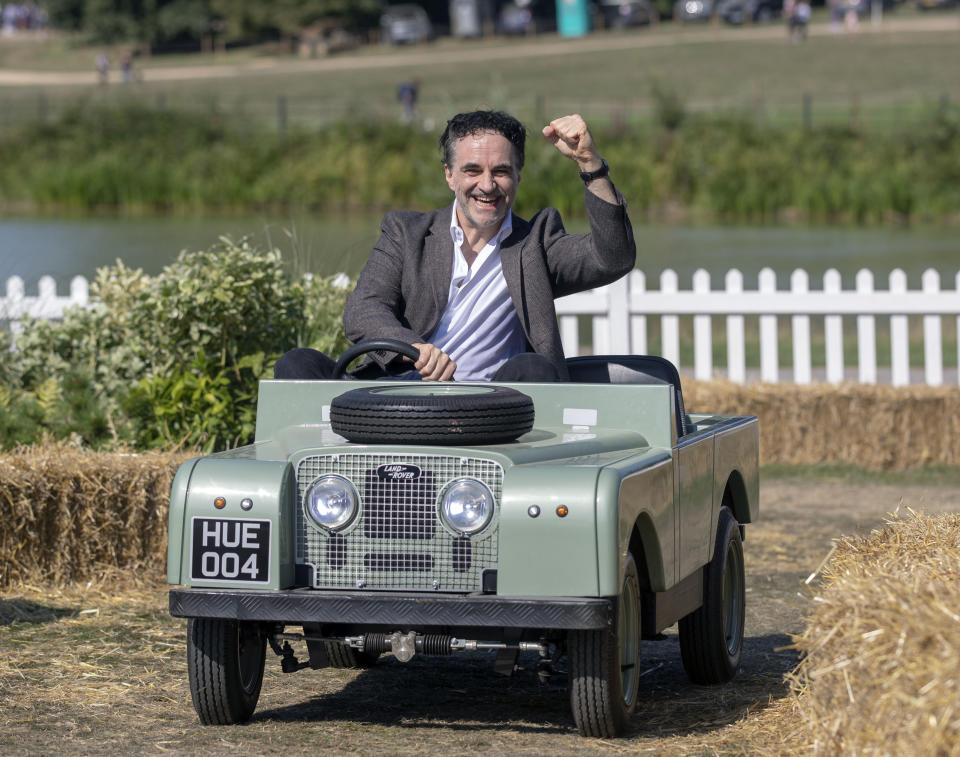Professor Noel Fitzpatrick enjoying a rare day out at the Land Rover Burghley Horse Trials, Stamford, Lincolnshire, with one of the 40,000 dogs which attended the four day event this week. (Photo by Steve Parsons/PA Images via Getty Images)