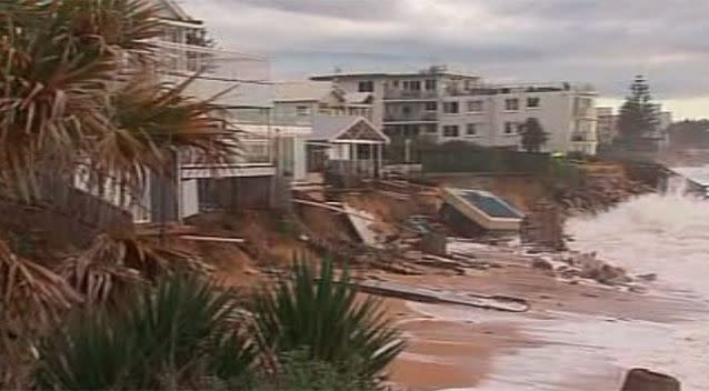 Ms Silk's garden had been washed away and her neighbour's swimming pool completely dislodged by the storm. Photo: 7 News
