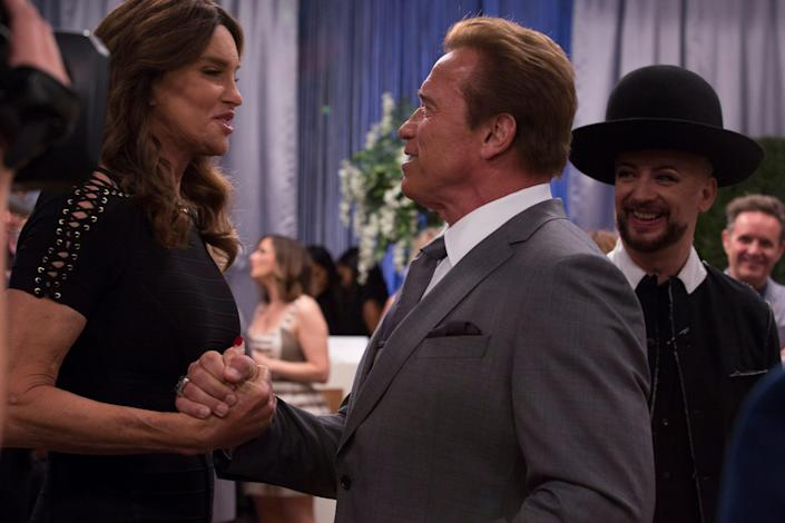 """Caitlyn Jenner, Arnold Schwarzenegger and Boy George in an episode of the 2017 NBC show """"The New Celebrity Apprentice."""""""
