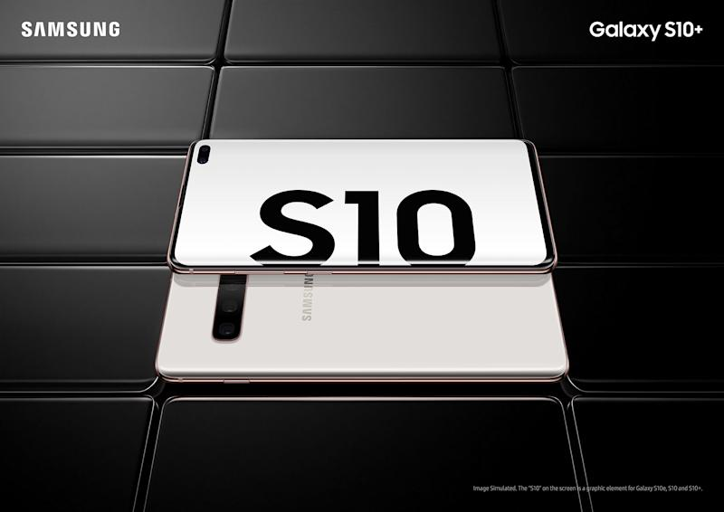 A Galaxy S10 promotional image.