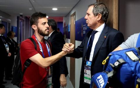 Vice president of Portugal footbal federadtion Humberto Coelho cheers Bernardo Silva prior to the 2018 FIFA World Cup Russia group B match between Iran and Portugal at Mordovia Arena on June 25, 2018 in Saransk, Russi - Credit: Getty Images