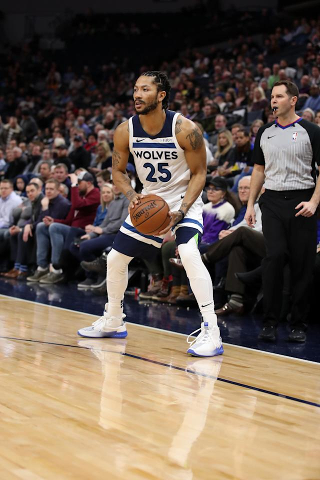 MINNEAPOLIS, MN - FEBRUARY 11: Derrick Rose #25 of the Minnesota Timberwolves handles the ball against the LA Clippers on February 11, 2019 at Target Center in Minneapolis, Minnesota. (Photo by Jordan Johnson/NBAE via Getty Images)