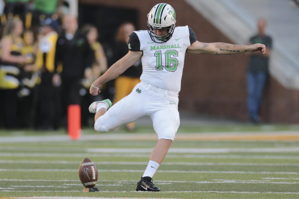 Marshall Thundering Herd kicker Justin Rohrwasser was a surprising fifth-round pick to the Patriots. (Photo by Bobby McDuffie/Icon Sportswire via Getty Images)