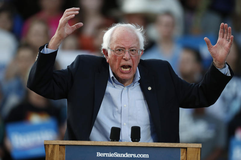 FILE - In this Sept. 9, 2019, file photo, Democratic presidential candidate Sen. Bernie Sanders, I-Vt., speaks during a rally at a campaign rally in Denver. Sanders is still leading a revolution. But his ideas no longer feel quite so revolutionary. He acknowledges that many of his top proposals, which were dismissed as radical in 2016, have been adopted by much of the 2020 Democratic presidential primary field. (AP Photo/David Zalubowski, File)
